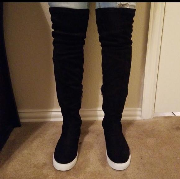 Black Thigh High Sneaker Boots   Poshmark